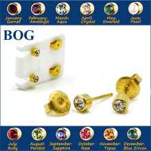 BOG-Pair 24K Gold Plating Surgical Steel 4mm Birthstone CZ Ear Stud Earrings Studs Studex Tragus Cartilage Piercing Body Jewelry(China)