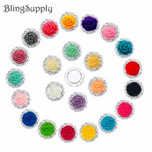 Free shipping 20mm resin rose rhinestone button flatback mix colors 100PCS/lot(BTN-5397)(China)