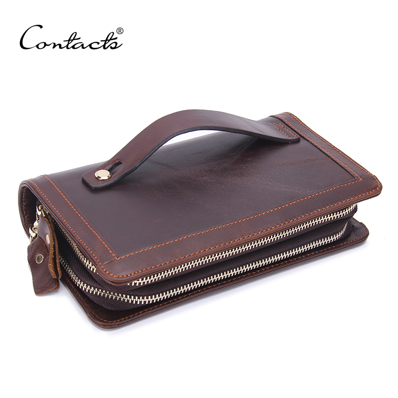 CONTACTS Fashion Mens Original Retro Leather Clutch Wallet Guaranteed Genuine Leather Vintage Man Clutch Bag High Capacity<br>