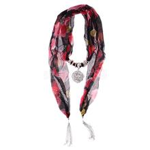 Bohemian Chiffon Flower Printed Scarf Necklace with Jewelry Pendant Long Tassels Lady Fashion Spring Ornaments Decoration
