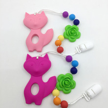 Silicone Teething Pacifier Clip with large BIG FOX pendant Rose chew beads baby chew necklace Nursing Flower necklace teether(China)