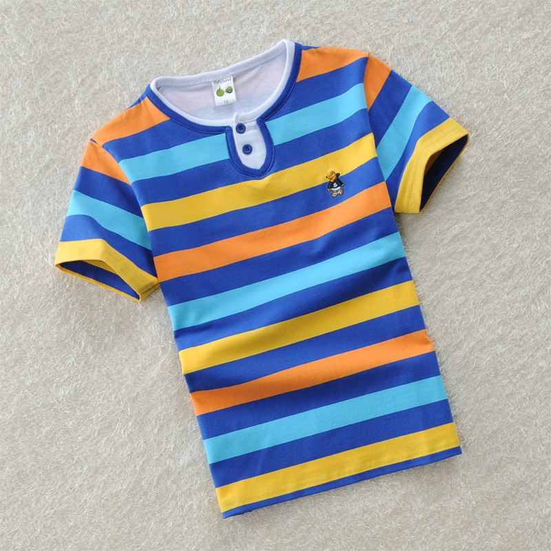 Childrens clothing male child short-sleeve T-shirt child 100% cotton o-neck solid color female child baby short-sleeve stripe<br><br>Aliexpress