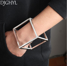 Fashion exaggerated runway brand jewelry punk hollow metal cube three-dimensional hand cuff bangle bracelet for women