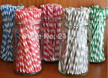 Mixed Striped and Polka Dot Drinking Paper Straws,striped paper party straws Vintage, Retro paper(China)