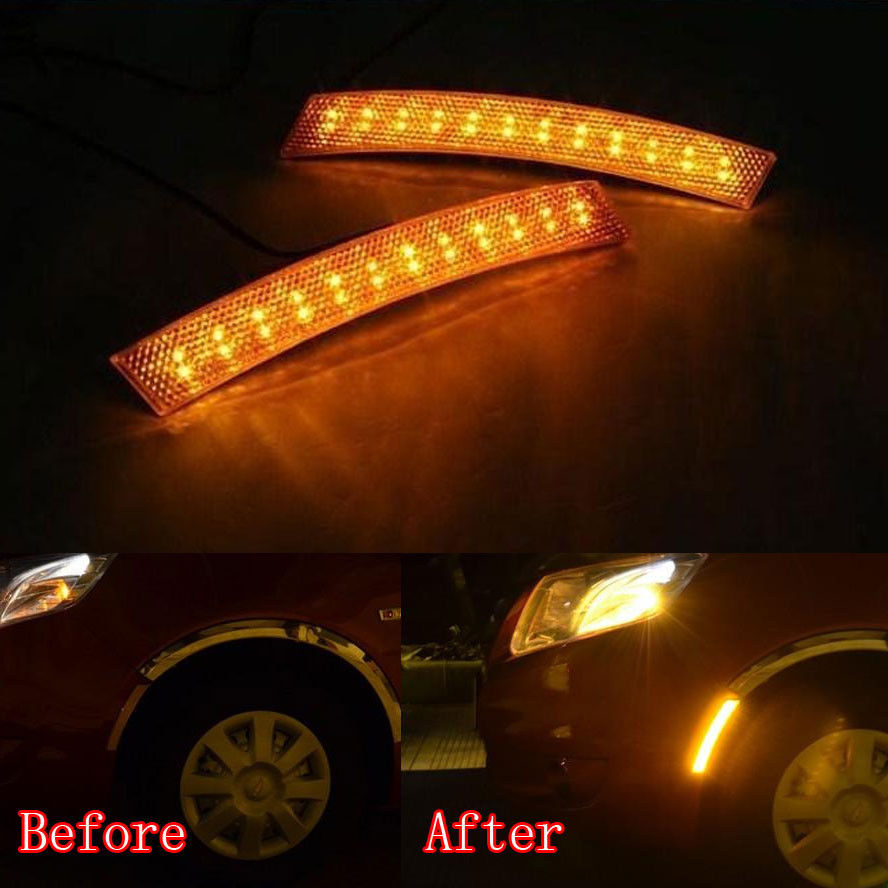 Universal Car 2x 18 LED Fender Wheel Eyebrow Side Yellow Reflector Turning Light Fit For Toyota Corolla Camry Reiz ect<br><br>Aliexpress