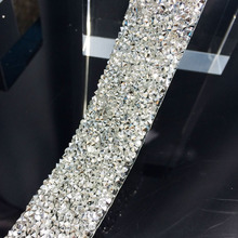 Free shippment clear with silver crystal rhinestone wedding banding,3cm width,fancy bridal dressbelt trim,wedding cake banding