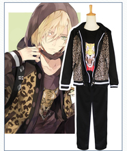 Anime yuri on ice Yuri Plisetsky Cosplay Costume Leopard Print Coat Daily Outfits Coat+pants+T-shirt+hoodie Free Shipping D(China)