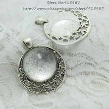 Sweet Bell 6set/sets Antique Silver Alloy star 36*45mm(Fit25mm dia) Round Cabochon Pendant Settings+Clear Glass Cabochon A4107-1(China)
