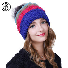 FS Women Winter Caps Knitted Beanies Skullies Cap Pom Poms Girls Hats Blue Brown Female Causal Warm Hat Gorro Feminino(China)