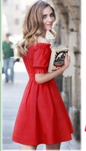 NEW design girls causal red dress women fashion summer nice ball gowns short sleeve dress lady holiday Party dress size L #E92