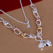 925 sterling silver jewelry 18k gold necklaces crystal flower heart lock pendants colorful link chain long choker necklace N212