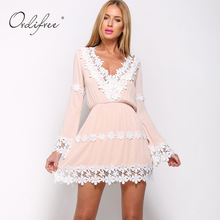 Ordifree Summer Women Short Lace Dress Long Sleeve V Neck Cute Pink Floral Crochet Chiffon Dress