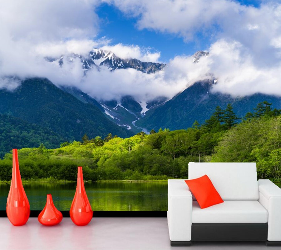 Scenery Mountains Lake Forests Clouds Nature wallpaper,living room tv sofa wall 3d room wallpaper landscape papel de parede<br>
