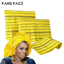 FANS FACE 2017 African Traditional Wedding Yellow ASO OKE For Women 3pc/Bag Orignal Nigeria Beautiful Headtie GELE Headscarf(China)
