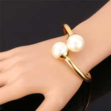 Kpop Simulated Pearl Cuff Bangles Big Beads Gold/Silver Color New Jewelry White Bracelets & Bangles Lady Essential H221