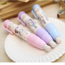 1Pcs Cute Designer Students Pen Shape Eraser Rubber Stationery Kid Gift Toy School Supplies 3 Colors On Sale(China)