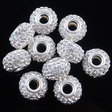 Clear White Crystal Release Resin Rhinestones Spacer Beads Big Hole Fit European Bracelet Charms Jewelry 14x9mm 10Pcs IA3141(China)