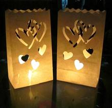 30 pcs/3packs Heart Tea light Holder Paper Lantern Candle Bag For Christmas Party Wedding(China)