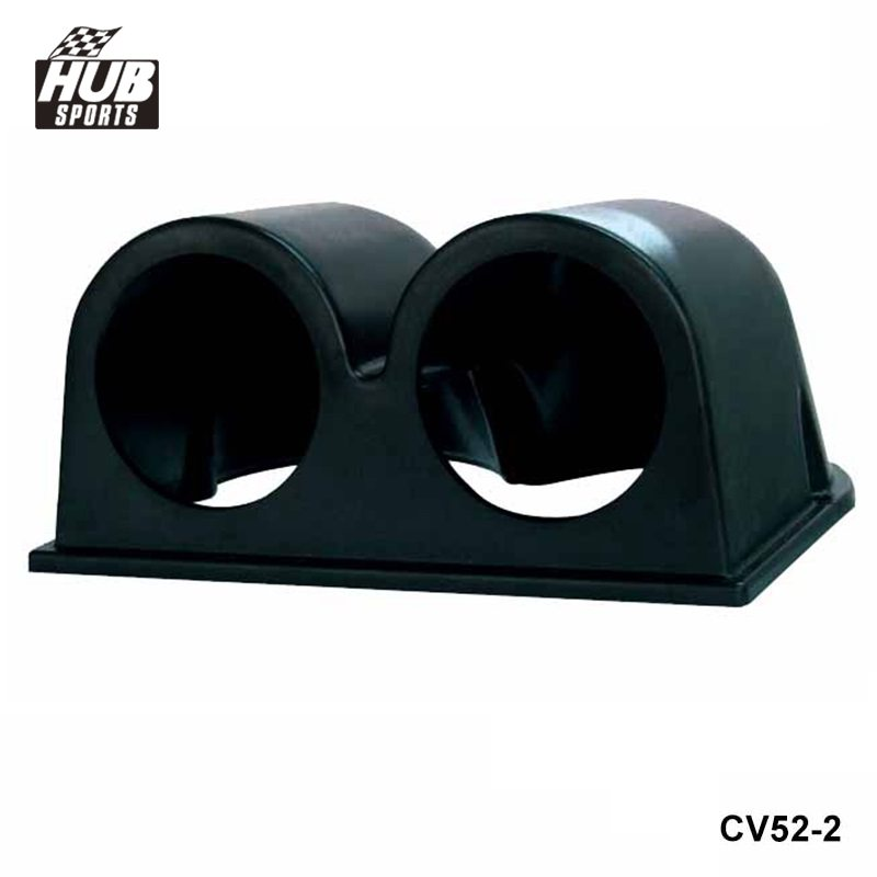 "Hubsports - Black 2"" 52mm UNIVERSAL 2 DUAL HOLE DASH GAUGE METER POD MOUNT HOLDER ABS For TOYOTA SUPRA JZA80 93-98 HU-CV52-2"