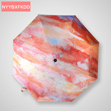 2016 Folding Graffiti color Multifunction Windproof Anti-UV Sunny umbrella rain women Parasol Gift Box Packaging Guarda Chuva