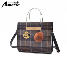 2017 New Women Wool Shoulder Bags Female Fashion Casual Top Handle Handbags Big Capacity Women Totes Bags with Plush Ball(China)