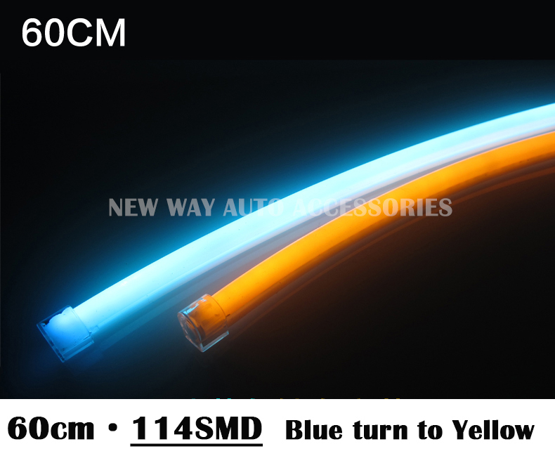 2pcs 60cm White+Amber green blue red Flexible Headlight Turn Orange Head lamp Switchback Strip Tube DRL Decorative Light<br><br>Aliexpress