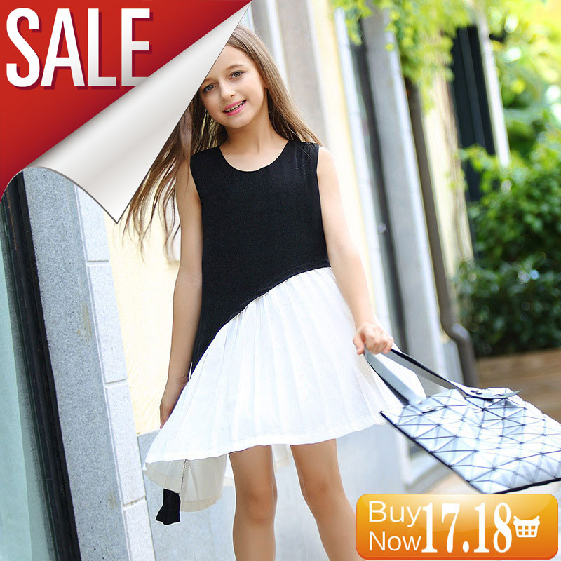GEMTOT-Girl-Big-Child-Dress-2017-Sleeveless-Vest-Girl-Korean-Black-and-White-Splicing-European-and