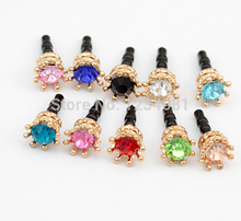 Fashion Style Solid Hollow Small Crown Drill Design Mobile Phone Ear Cap Dust Plug For Iphone Samsung 3.5mm Dust Plug(China)