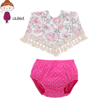 LILIGIRL Summer Baby Girl Clothes Neonatal Clothing Set Imported Baby Clothes Cute Tassel Bib + Casual Shorts 2 Pcs(China)