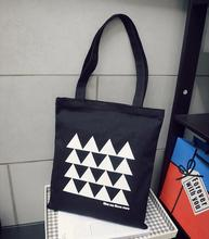 wholesales (500 pcs/lot) size 37x42H custom black cotton canvas tote shopping bag with printing company logo(China)