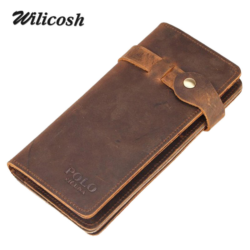 Wilicosh Vintage Hasp Genuine Leather Wallet men Large Capacity Crazy Horse Long Purses real Leather Man Wallet Carteira WL489<br><br>Aliexpress