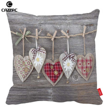 Vintage Rural Gray Wood Love Heart Shape Gift Throw Pillow Cases decorative Cushion Covers pillowcases Car Bed Sofa Home Decor