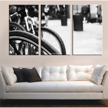Unframed Contracted Style Canvas Painting Bicycle Wall Home Decor white and black Oil Picture for Room Decoration Art Work 3pcs