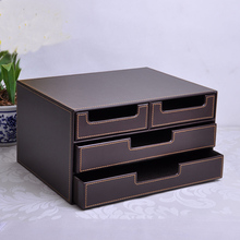 3-layer 4-drawer wood structure leather desk filing cabinet storage box office organizer document container brown 216B