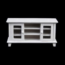 Quality 1:12 Dollhouse Miniature Furniture Wooden TV Cabinet White Doll House Pretend Play Classic Toys Class Toys Gift for Kid(China)