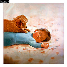 ROUND DIY Diamond Painting Portrait angel baby in sleeping picture embroidery knitting needles mosaic pattern cross stitch(China)