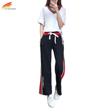 2 Piece Set Women 2017 New Short Sleeve Tops And Wide Pants Women Plus Size 5XL Women's Tracksuits High Quality Womens Set Suits