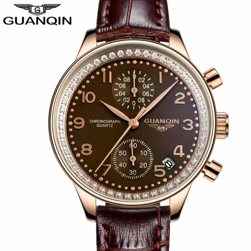 Original GUANQIN Fashion Diamond Women Watch Dress Quartz Ladies Wristwatches Leather Strap Clock Water Resistant Reloj Mujer<br><br>Aliexpress