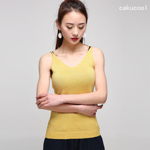 Cakucool Cheap Women Sequined Knit Tank Tops Summer V-neck Slim Camis Shiny Gold Lurex Female Sexy Fitness Vest Sweater 6colors(China)