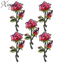 XINYAO 2pcs/lot Fashion Fabric Applique Rose Flower Embroidery Stickers Patches For Clothes Accessories Jewelry Making F5546