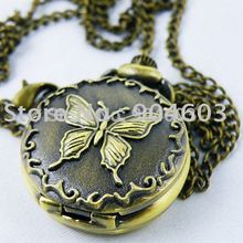 (PS018) 12 pcs/lot free shipping vintage antique cameo brass butterfly pocket watch pendant necklaces