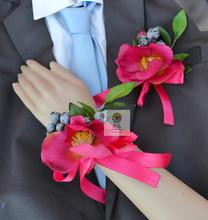 Handmade New Wedding Corsages Groom Groomsmen Boutonniere Bride Bridesmaid Mother Hand Wrist Flower Hot Pink Artificial Flowers(China)