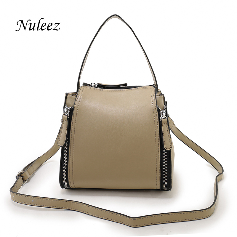 Nuleez Fashion Women Leather Handbags Genuine Leather Tank Bag Cross Body Shouler Strap Bag Real Leather Handbags Small 2502 <br>