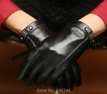 Men's Smart Touch Screen Genuine Sheepskin Leather Driving Texting Gloves Silk Lined Black M L XL(China)