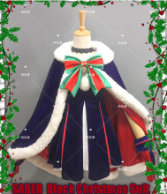 Anime Fate GRAND ORDER Saber Nero Cashmere Fury Velvet Black Lolita Christmas Dress Cosplay costume Full set Stock size freeship