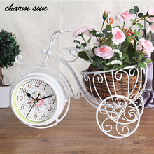 Pastoral Style Creative Iron Bicycle Basket Double Sided Decorative Table Clock Fairy Garden Ornaments Home Deco Accessories