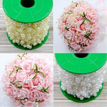 Beige/White 5 Meters/Lot Fishing Line Artificial Pearls Beads Chain Garland For Wedding Party& Bridal Bouquet Flower Decoration(China)