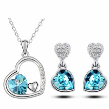 Free Shipping quality charm women accessories bridal Austrian crystal double heart pendant Necklace Earrings fashion jewelry Set
