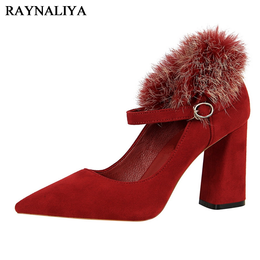 New Winter Pointed  Toe Fashion Style Vintage Retro Style Woman Bow Plush Pumps Ladys Sexy High Heeled Shoes Women BT-A0040<br>