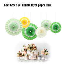Wedding Series 6pcs/set Mixed Size Paper Fan Baby Shower Hanging Decor Banquet Decoration Paper Crafts Summer Party Supplier(China)
